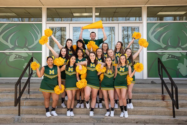 Motlow cheer team posing for a group portrait