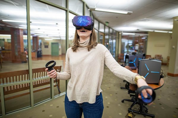 a student enjoying a VR headset