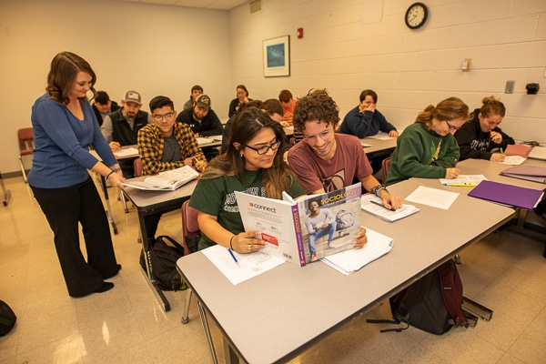 students in class studying