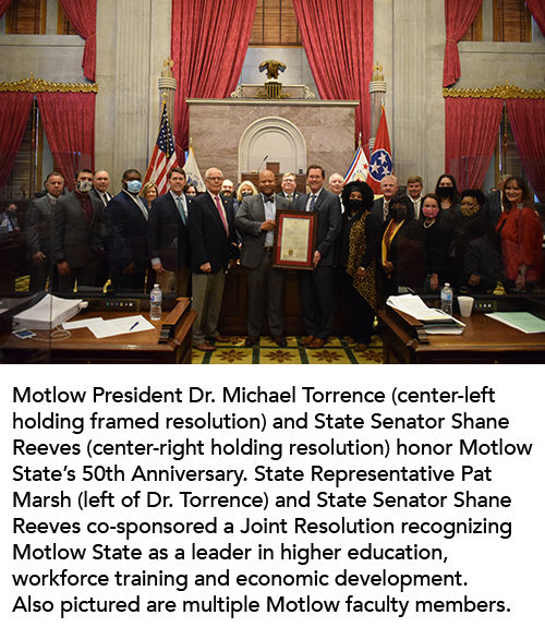 Motlow Honored by TN General Assembly for 50th Anniversary as an Institution